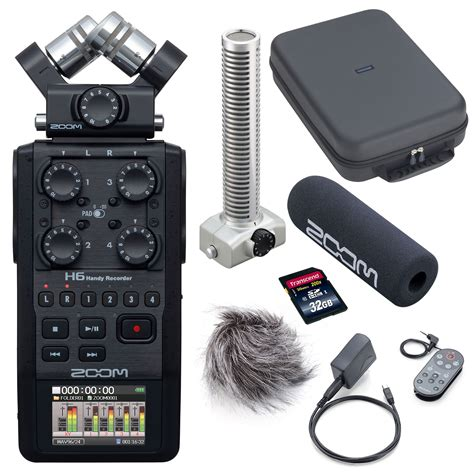Zoom H6 Recorder w/ SGH-6 Mic Capsule, Case, Accs Kit