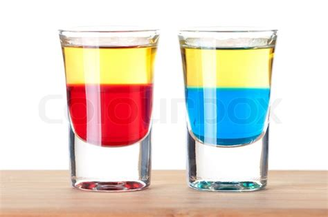 Shot- Cocktail -Kollektion: Red and Blue Tequila Alkohol