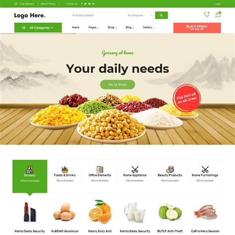 Grocery Store Theme - Ready to Install Website - Only £50