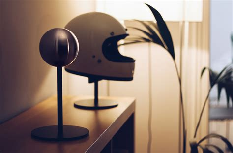 The Halley Helmet Stand - A Modern Motorcycle Helmet Stand