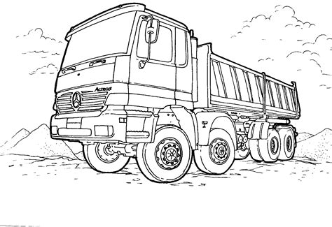 Coloring page - Tipper Mercedes-Benz
