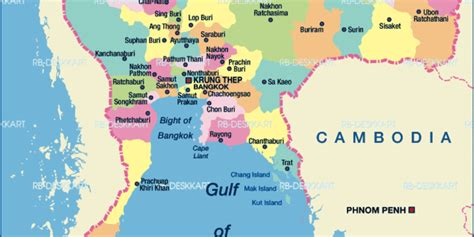 Map of Thailand, political (Country) | Welt-Atlas