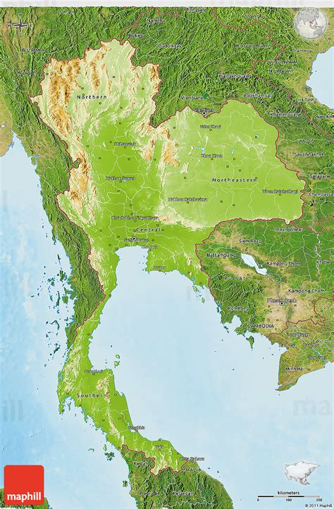 Physical 3D Map of Thailand, satellite outside, shaded