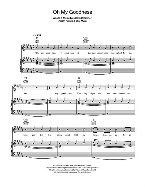 Oh My Goodness sheet music by Olly Murs (Piano, Vocal